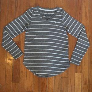 Abercrombie Kids Grey Stripped Knit Top Sz 11/12